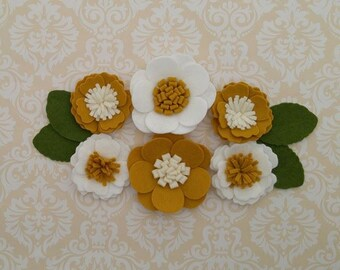 Handmade Wool Felt Flowers, Mustard, Ivory and White