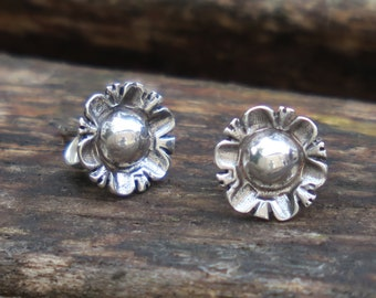 Flower Stud Earrings, Silver Flower Earrings, Flower Studs, Silver Stud Earrings, Flower Jewelry, Sterling Silver Earrings, Silver Earrings