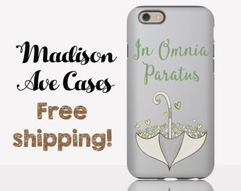 """Phone Case In Omnia Paratus """"Ready For Anything"""" Umbrella Gilmore Girls TV Stars Hollow Quote Galaxy  S5 S6 S7 iPhone 4 5 6 6s Tough Slim"""