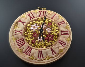 Roman numeral clock in embroidery hoop
