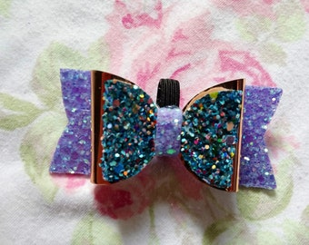 Lilac and blue  Glitter dog bow 3'