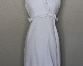 White, short, crossover dress, cotton, sleeveless, ruffles, handmade