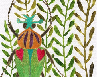 Nydia - Original Watercolour and Ink Painting of an Insect Among Leaves