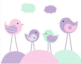 Bird Nursery, Lavender Purple Mint Pink, Girl's Nursery Art, Baby Room Decor, Bird Family Print, Baby Shower Gift, Playroom Decor, Kids