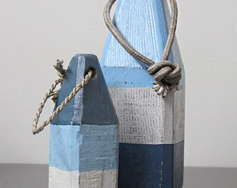 Coastal Decor Set Blue White Navy Lobster Buoy Nautical Wooden by SEASTYLE 1
