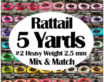 5 yards Rattail Satin Rayon Cord #2 Heavy Weight