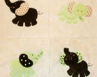 "Appliqued Minky Quilt Squares""Elephants"""