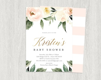 Baby Shower Invitation, Greenery Baby Shower, Blush Floral Baby , Botanical Baby ,  Printable Invitation | Digital File (5x7)