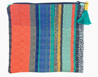 Haley | Woven Boho Envelope Clutch with Tassel | Handwoven Modern Striped Purse | Vibrant Women's Fashion Accessory | Woven Fold Over Clutch