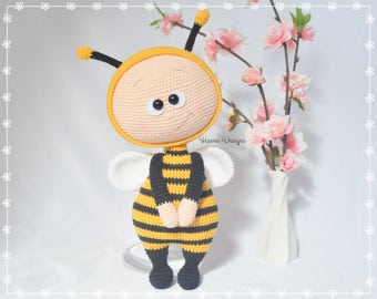 Crochet Pattern  - Bonnie With Bee Costume (Amigurumi Doll Pattern)