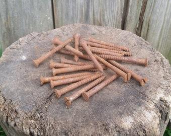 Vintage screws, Rusty screws, Set of 20 screws, Old screws, Rusty tools, Metal screws, Wood screws, Old tools.
