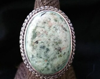 Jasper Sterling Ring Ornate Setting