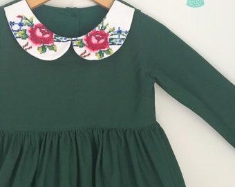Size 3 Forrest Green Vintage Collar Dress