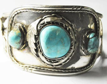 "Sterling Silver Turquoise Handcrafted Unsigned Bangle Cuff Bracelet 7.5"" 47mm"