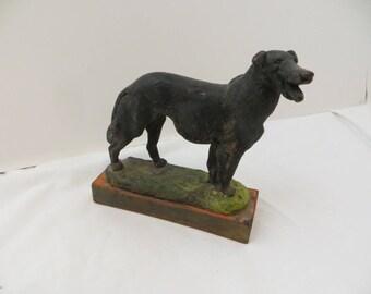 Vintage Smiling Dog Paul Herzel Polychrome Sculpture Antique American