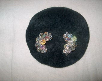 Vintage Costume Jewelry Crystal Glass Clipback Earrings