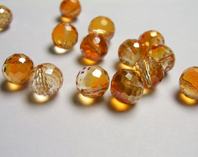 Crystal faceted 8mm round top drill  beads - 24 beads - AA quality - orange topaz - TDC2