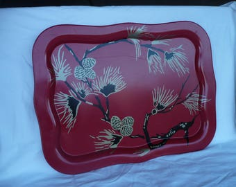Large Metal Tray , Chinese Red , Gold and Black Pinecones