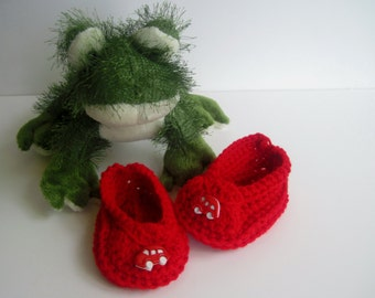 Crochet Baby Booties - Red with Car Buttons - 3 to 6 Months