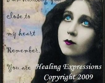 NEVER ALONE altered art collage therapy grief recovery hope ATc ACeO PRiNT