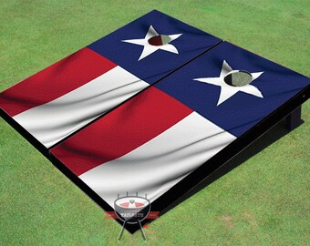 Custom Corn Hole Texas State Wavy Flag Graphic Cornhole Boards