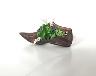 Vintage Wood Shoe Form With Delicate faux Succulents Adorned on Edge, Primitive, Rustic, Country. Artificial succulents