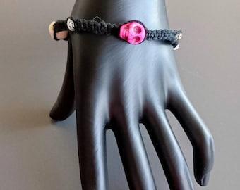 Pink and White Skull Bracelet on Black Hemp