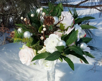 Winter pine rose bridal bouquet, SAMPLE SALE!!!