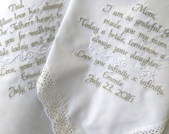 Embroidered Wedding Handkerchief Mother and Father of the Bride Wedding Gifts for Mom and Dad Embroidered Wedding Handkerchiefs Custom Gift