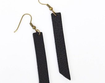 Rectangular Leather Bar Earrings:  True Black Leather Bar Earrings // Choose your size and shape