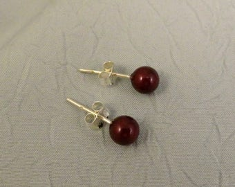 Blackberry 6mm Glass Pearl Earrings With Sterling Silver Post and Back