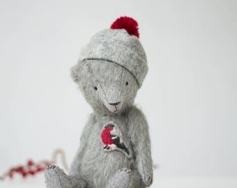 Made To Order Mohair Teddy Bear Bullfinch Embroidery Pom Pom Hat 7 Inches Stuffed Animal Handmade Toy Artist Teddy Bear Christmas Gift