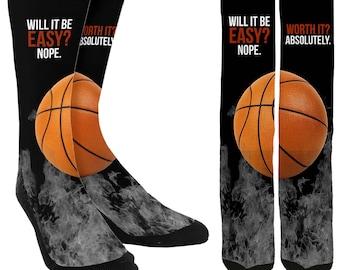 Will It Be Easy? Crew Socks - Basketball Socks - Cool Basketball Socks - Athletic Socks - Unique Socks - Novelty Socks - FREE Shipping B14