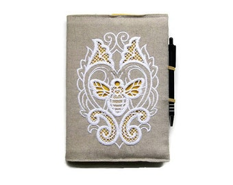 A5 notebook and pen, bee notebook gift set,  embroidered bee linen planner cover, bee embroidered reusable journal cover.