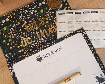 Weekly Planner, Desk Pad - Let's do This (with calendar stickers)