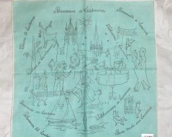 Antique Hanky / Vintage Handkerchief /1950s 1940s Mid Century / LAUSANNE Souvenir / Welcome in many Different Languages -UNUSED orig label