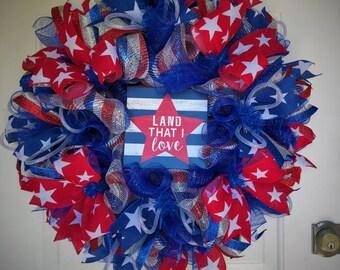 Patriotic Wreath, Red White & Blue Wreath, Independence Day Wreath, July 4th Wreath, Deco Mesh Wreath, Patriotic Door Decor