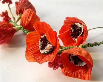 Poppy wreath, Red flowers crown, Flower wedding decoration, Red poppy floral hair accessory