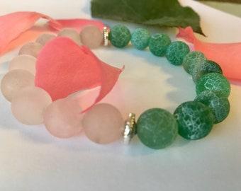 Heart Chakra. Rose Quartz/Green Matte 10 mm beads