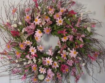 Spring wreath, spring door wreath, summer wreath, spring decoration, front door wreath housewarming gift, floral wreath, summer decoration