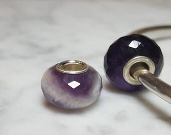 Amethyst Gemstone European Bead