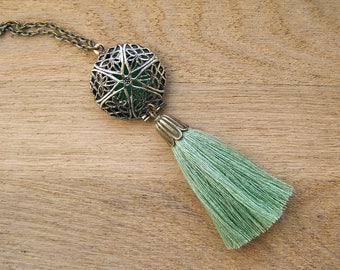 Green Tassel Locket Pendant, Ethnic dangle filegree essential Oil Diffuser, Bohemian aromatherapy charm, Tribal Dream Catcher, Eclectic art