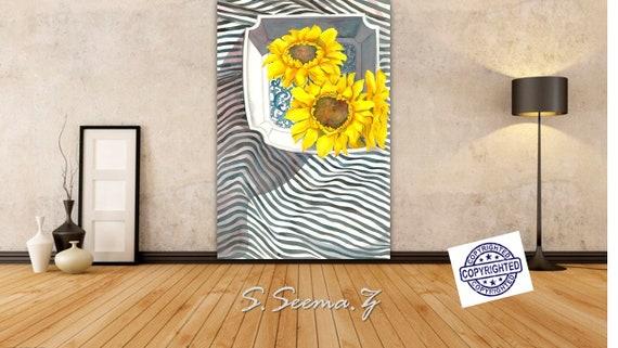Sunflowers & Stripes-Canvas Art Prints -Large-