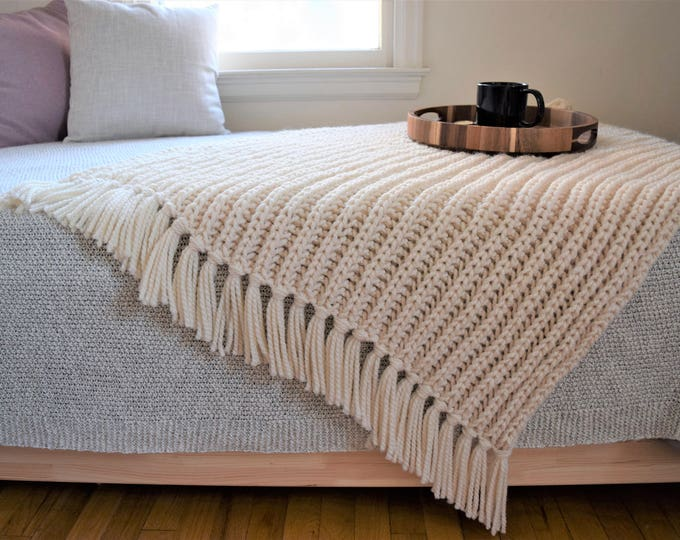Featured listing image: Fisherman's Throw Knitting Pattern