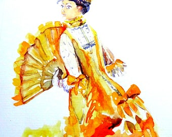 Lady in a yellow Victorian dress. Original watercolor card.