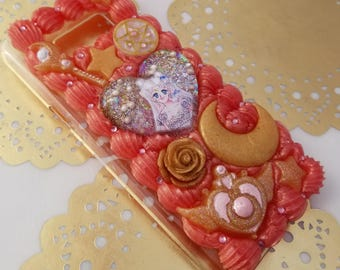 Sailor Moon Princess Serenity rose gold decoden whipped cream cell phone case for Samsung Galaxy s8 PLUS s8+