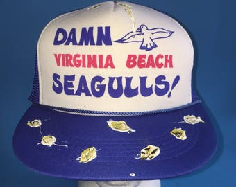 Vintage Damn Virginia Beach Seagulls Trucker Snapback Hat Adjustable 1980s Funny Birds