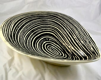 Sale! Half Off MODERN Scandinavian style Ceramic Dish Graphic Black and White Wavy Design Vintage Was 30, now 15