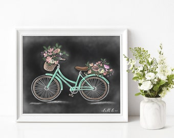 Bicycle - Chalk Print -Chalk Art- Chalkboard Art- Spring Decor -Spring Bicycle- Bicycles- Hand drawn - Spring Print -Spring - Spring Flowers