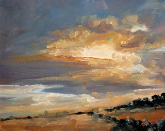 Fallow Fields  | greetings card | hand made | handmade | oil painting | painting | landscape | fields | sky | sunset | clouds | art card